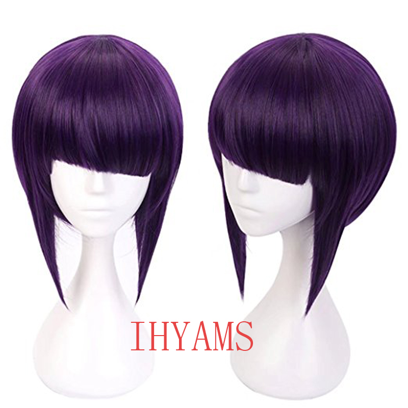 My Hero Academia Kyoka Jiro Cosplay Wigs 30cm Purple Black Heat Resistant Short Synthetic Hair Perucas Cosplay Wig+Wig Cap