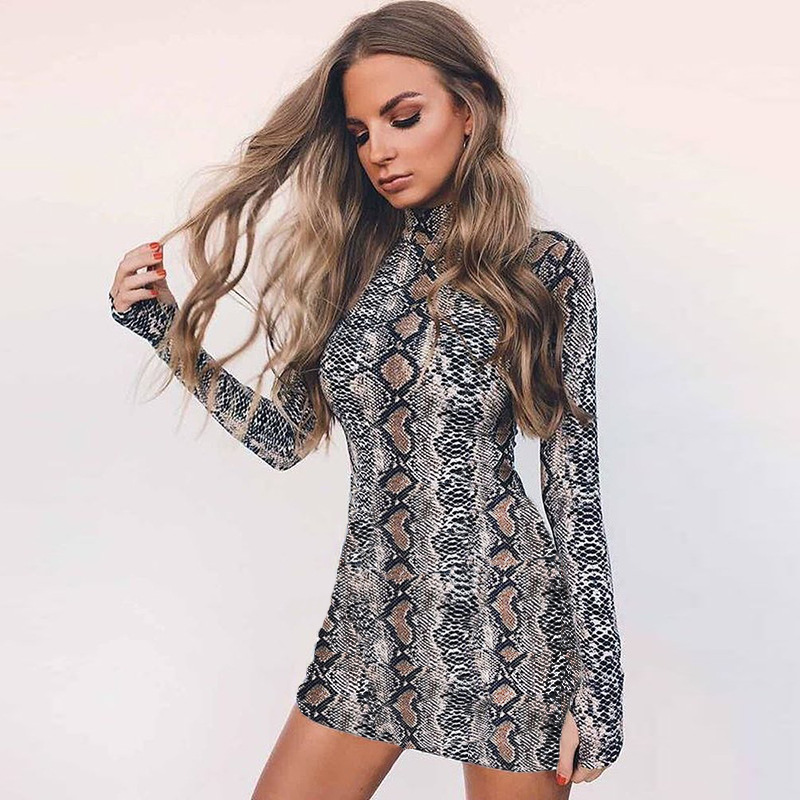 AINYFU 2019 Autumn Spring Women <font><b>Sexy</b></font> Snakeskin High Neck Party Mini Short Dresses For Female Print Long Sleeve Dress <font><b>212</b></font> image
