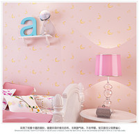 Hot Sale Non Woven Pink Moon And The Stars Cartoon Boys And Children S Room Bedroom
