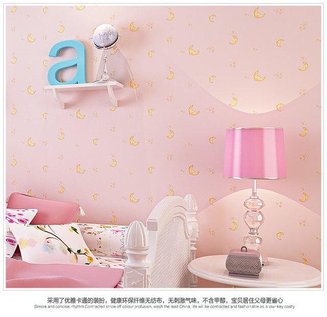Hot Non Woven Pink Moon And The Stars Cartoon Boys Children S Room Bedroom Wallpaper