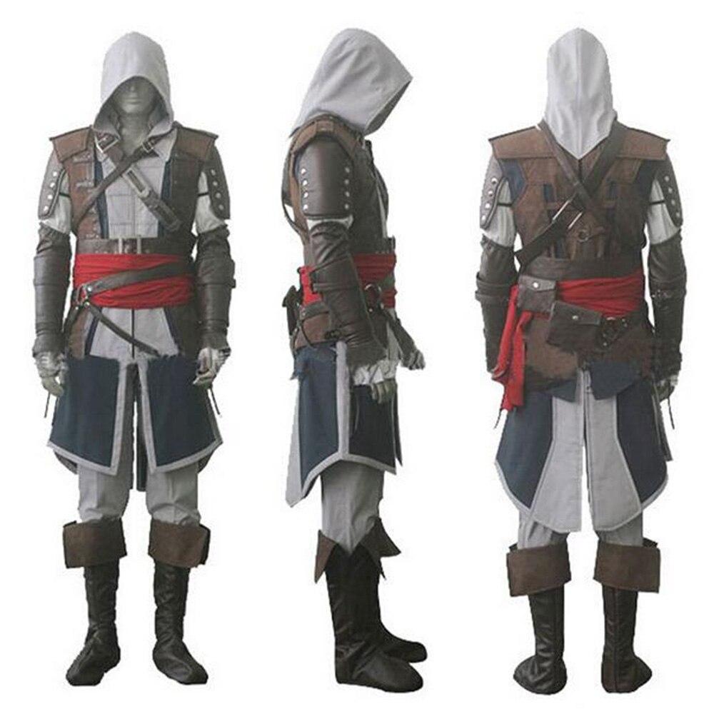 Assassin creed IV 4 Black Flag Edward Kenway Halloween Gris Cosplay Costume de Super Héros Assassin Creed Ensemble Costume