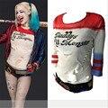Harley Quinn Cosplay COS T-shirt Moda Bottoming Tees Paly Traje COSPLAY Mulheres Menina T-shirt de Algodão Carta de Impressão Partes Superiores Legal