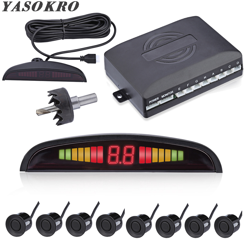Car Parktronic LED Parking Sensor With 8 Sensors Reverse Backup Car Parking Radar Monitor Detector System 22MM Backlight DisplayCar Parktronic LED Parking Sensor With 8 Sensors Reverse Backup Car Parking Radar Monitor Detector System 22MM Backlight Display