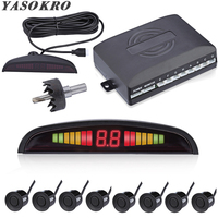 Car Parktronic LED Parking Sensor With 8 Sensors Reverse Backup Car Parking Radar Monitor Detector System 22MM Backlight Display