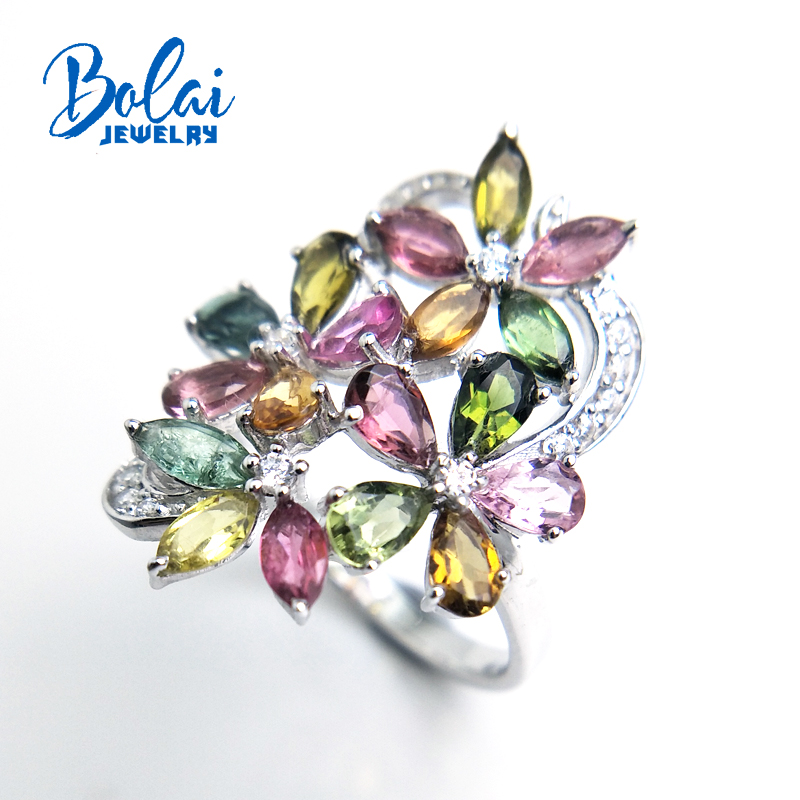 Bolaijewelry,petals and Leaf natural fancy color tourmaline Ring in 925 sterling silver fine jewelry for girl as gift with box-in Rings from Jewelry & Accessories    1