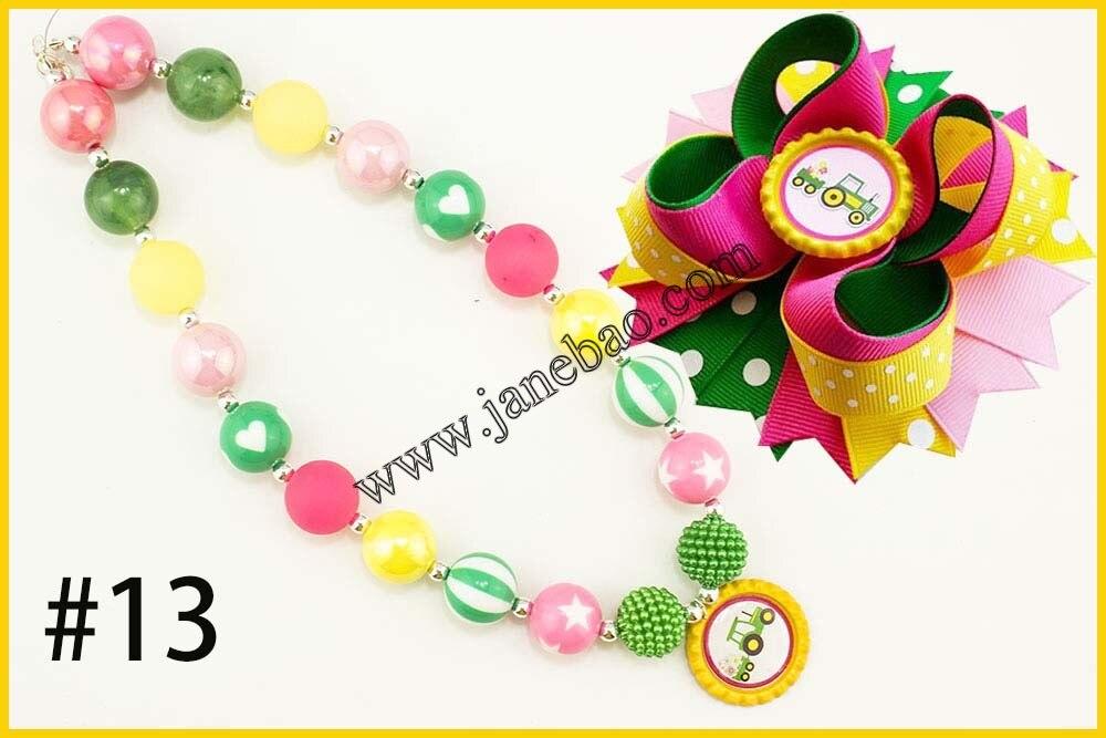 Image 5 - free shipping 10set Cartoon princess chunky bubblegum kids  necklace  and character hair bows 4.5 girl hair clipsgirls hair  clipshair clipgirls hair