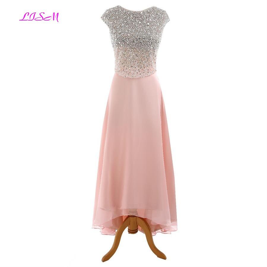 Crystals Tea-Length   Prom     Dresses   O Neck Beaded Long Party Gowns Cap Sleeves Sequins Chiffon Bridesmaid   Dress   robe de bal longue
