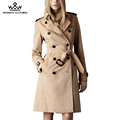 2016 Winter Women Long Trench Coat  Runway Catwalk Double Breasted High Quality Khaki Black Dust Coat With Sashes ww1