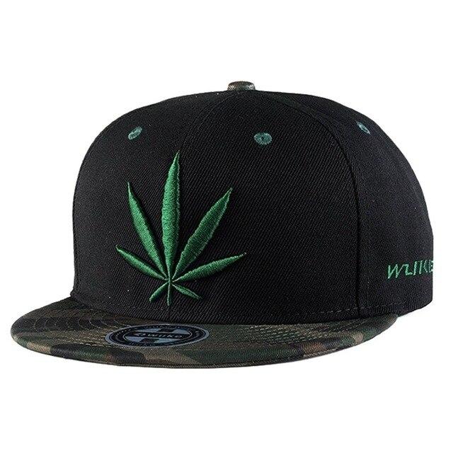 c85398ead30ca Unisex mujer hombre verde hoja de arce gorras planas hip hop snapback caps  negro deportes al