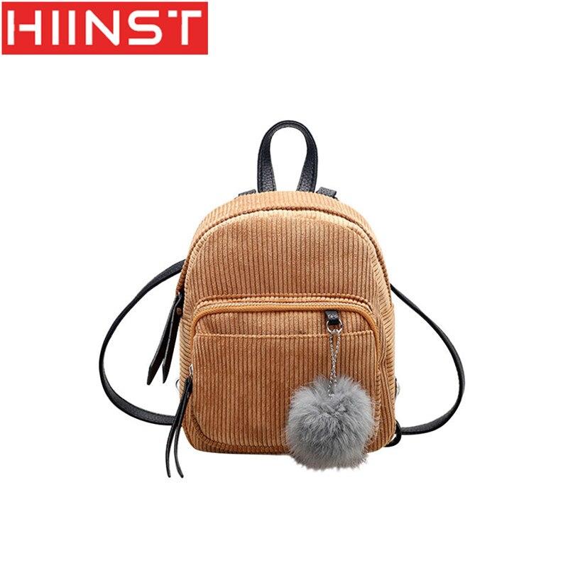 HIINST Backpack softback female Mini velvet female solid color wild hair ball simple solid color wild backpack women Y1212