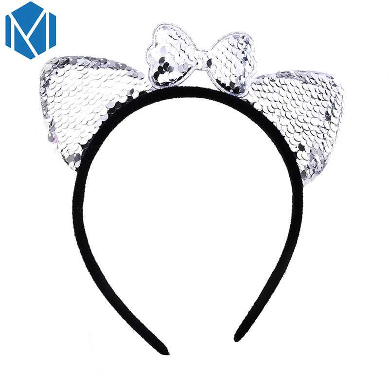 Женские блестящие повязки на голову с кошачьими ушками, милые банты, принадлежности для волос для девочки, Детские Вечерние/праздничные/повязки для волос