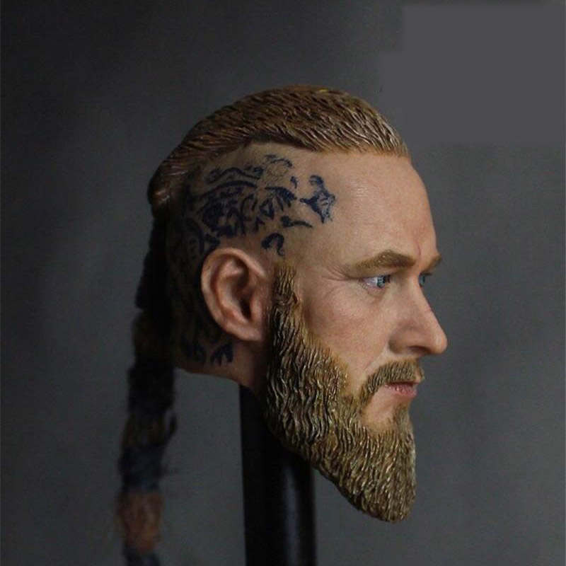 Mnotht 1/6 Mens Viking Head Carved Model Travis Fimmel Male Weave Hair soldier toy For 12 Inch Action Figures Dolls Cllection 1 6 scale mens head sculpt viking travis fimmel with braid for 12 inches male muscular bodies figures dolls