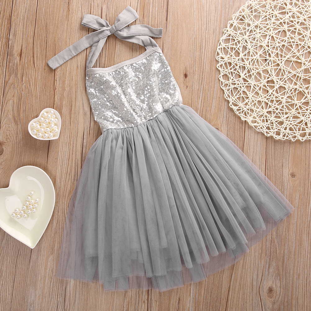 Summer Mesh European Style Girls Dress Sequin Ball Gown Sleeveless Tutu Dress Patchwork Girls Mini Dresses Gray 1-5 Years