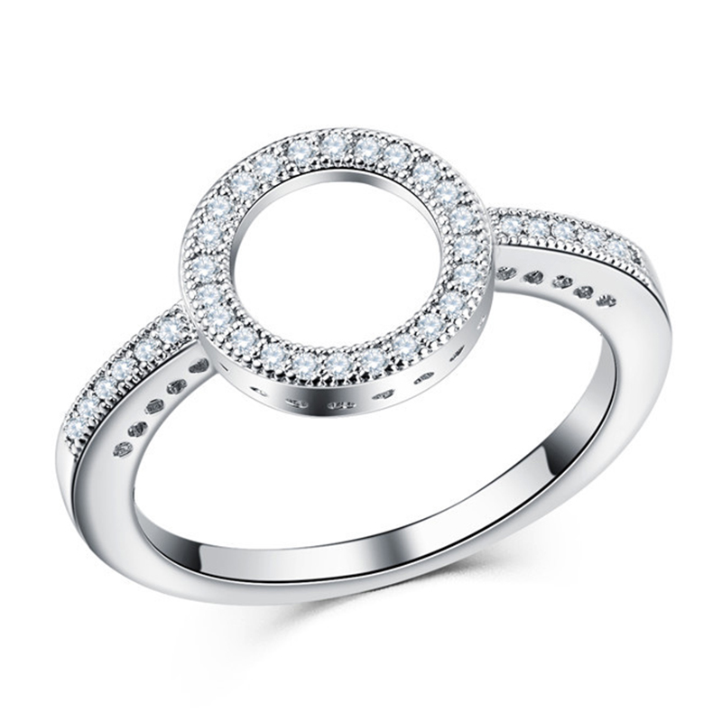 Fashion Crystal Silver Color Ring For Women Flower Love Heart Crown Finger Rings Cocktail Part Brand