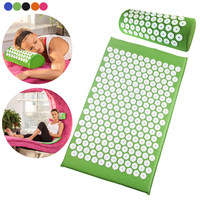 2018 Newly Acupressure Massager Pillow+Mat Set Relieve Stress Pain Yoga Mat Natural Relief Stress Body Massage Promotion Price
