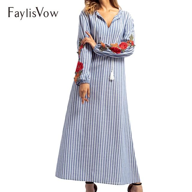 dc4e1117ab Floral Embroidery Blue Stripe Maxi Dress Dubai Kaftan Long Middle East Arab  Dubai Abaya Cotton Islamic Robe Muslim Women Dresses