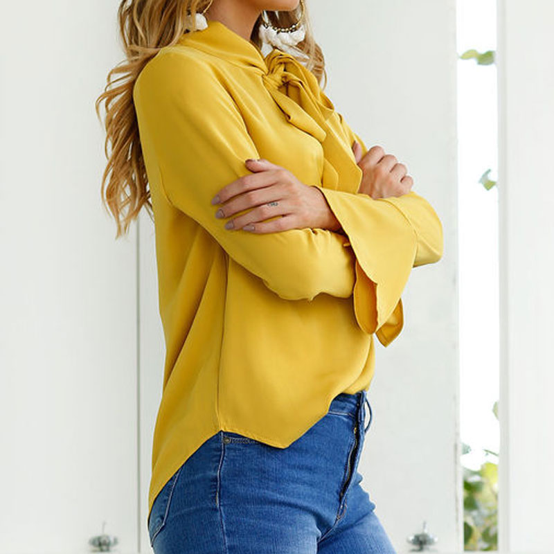 Women Blouse Casual Long Sleeved Solid Chiffon Shirt Plus Size Blouses