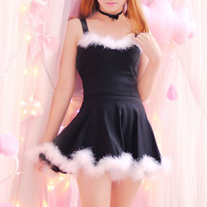 4 colors Japanese Young Girl Cute Kawaii Dress Basic Solid Straps Lovely Fur Hem Dance Party Dresses Two Piece Set For Women(China)