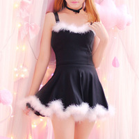 4 colors Japanese Young Girl Cute Kawaii Dress Basic Solid Straps Lovely Fur Hem Dance Party Dresses Two Piece Set For Women
