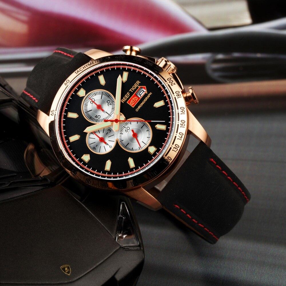Récif tigre/RT montre de Sport pour hommes chronographe montre à Quartz avec et montre Super lumineuse bracelet en cuir de veau italien RGA3029