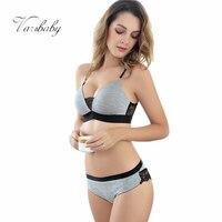 Varsbaby Lady Wire Free Comfortable Breathable Push Up Bra Set Ruffles Underwear Women Lingerie Sexy Panties