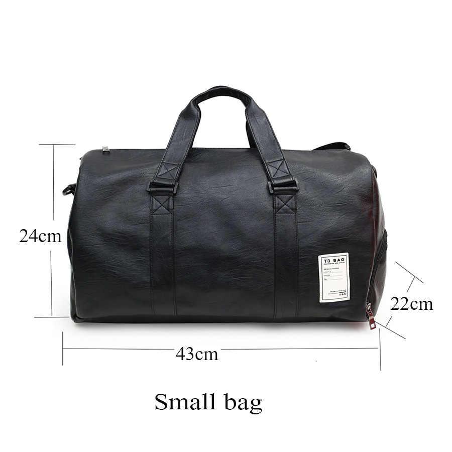 Novo unisex bolsa de viagem de couro grande capacidade sacos ginásio esportes bolsa ombro carry on bagagem sacos das mulheres dos homens viagem mensageiro