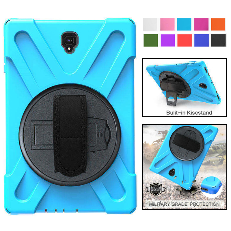 For Samsung Galaxy Tab S4 10.5 T830 T835 T837 Kids Safe Shockproof Heavy Duty Silicone+PC Kickstand Case Wrist Strap