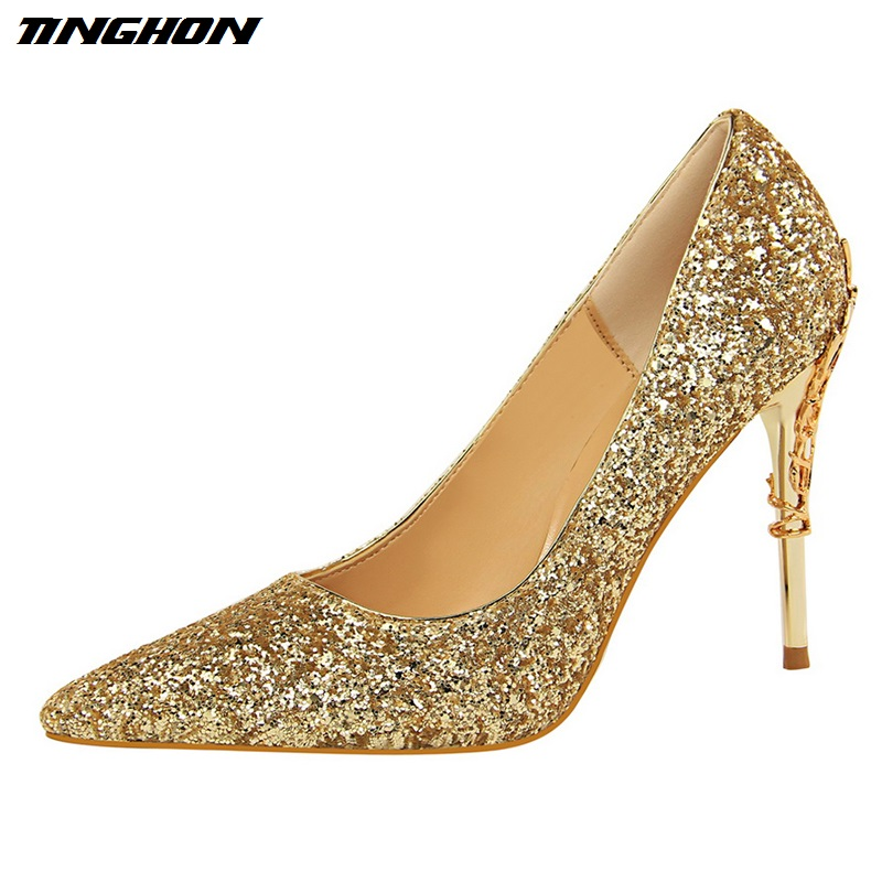 TINGHON Brand Women Shoes Metal Decoration Carving Heels Sexy Sequined Womens Glitter Pumps 9.5cm High Heels Gold Wedding Shoe