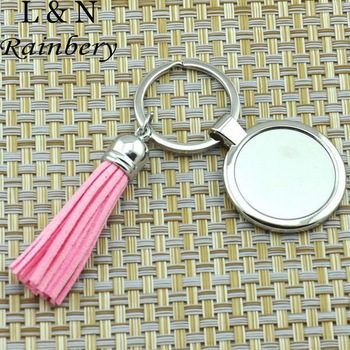 Rainbery Casual Leather Tassels Women Keychain Bag Pendant Silver Plated Alloy Personalized Enamel Key chain Monogram Keyrings
