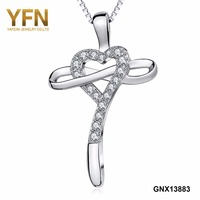YFN 925 Sterling Silver AAA Cubic Zircon Rhinestone Tim Infinity Chữ Thập Mặt Dây & Necklaces Chain Trang Sức Cho Nữ Đảng