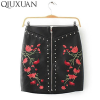 Fashion Flower Embroidery Rivets PU Leather Skirts 2017 Spring Summer Sexy Bandage Short Pencil Skirt Zipper