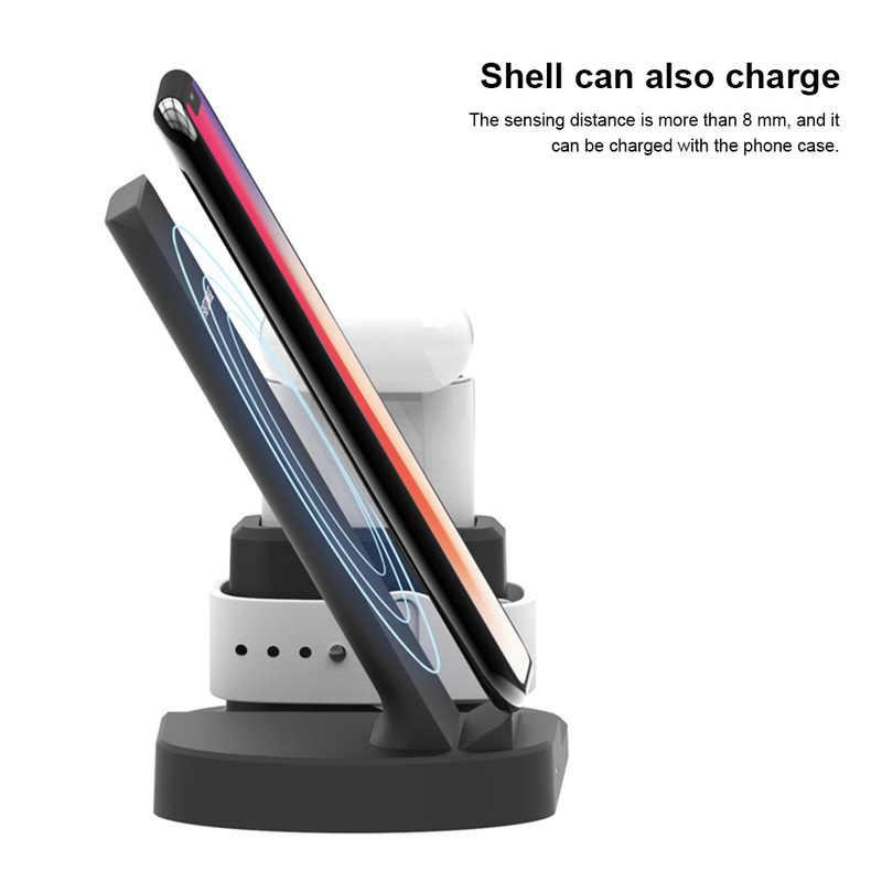 3 en 1 W 10W Qi rápido teléfono cargador inalámbrico para iPhone Xs/Xs Max/XR/X/8/8 Plus/Samsung/S9 S8 Apple Watch serie 1/2/3/ 4