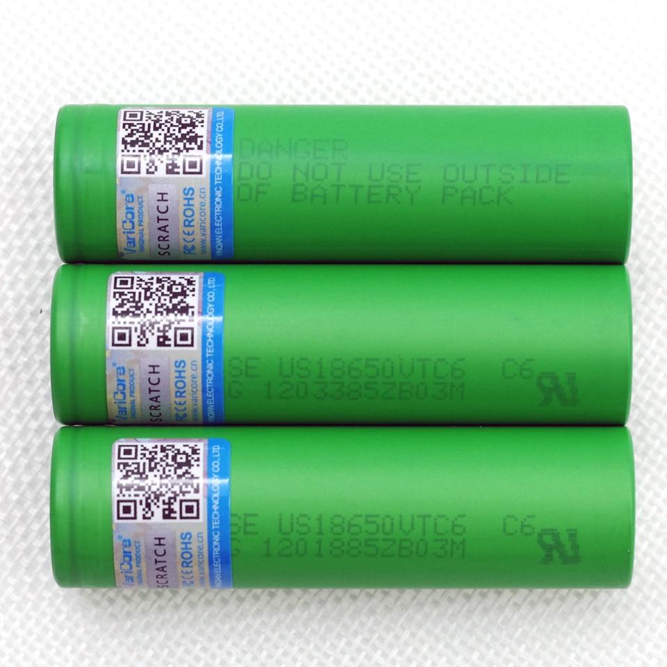 VariCore 3PCS VTC6 3.7V 3000mAh 18650 Li-Ion Battery 30A discharge for Sony US18650VTC6 toy flashlight E-Cigarette tools ues