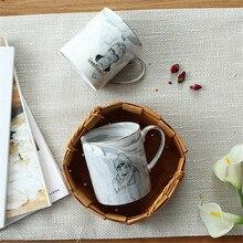 Scandinavian 400ml Marble Grain Ceramic Mug Romantic Gentleman Lady Couple Coffee Cup Creative Gold-rimmed Breakfast Milk Mugs