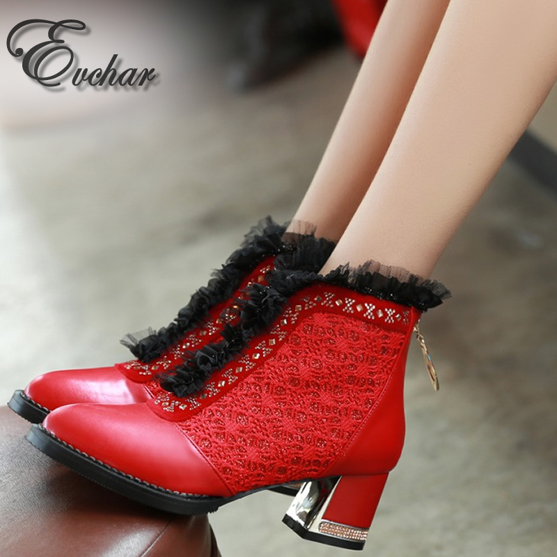 ФОТО Fashion Med Heel Crystal Lace pointed toe Women riding Boots Lady  Rhinestone mixed colors sexy ankle boots  large size 34-48