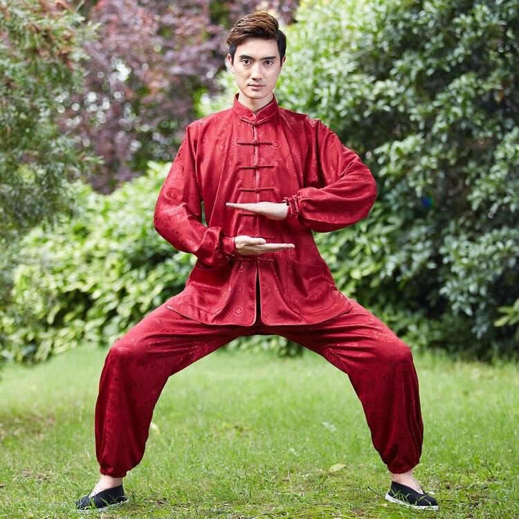 Φ_ΦVintage Borgoña chino hombres Kung Fu uniforme tai chi algodón ...