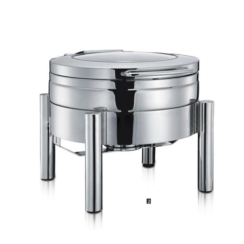 Commercial buffet furnace Round-shape hydraulic dining stove Food heating heat preservation with stainless steel/glass cover 6LCommercial buffet furnace Round-shape hydraulic dining stove Food heating heat preservation with stainless steel/glass cover 6L
