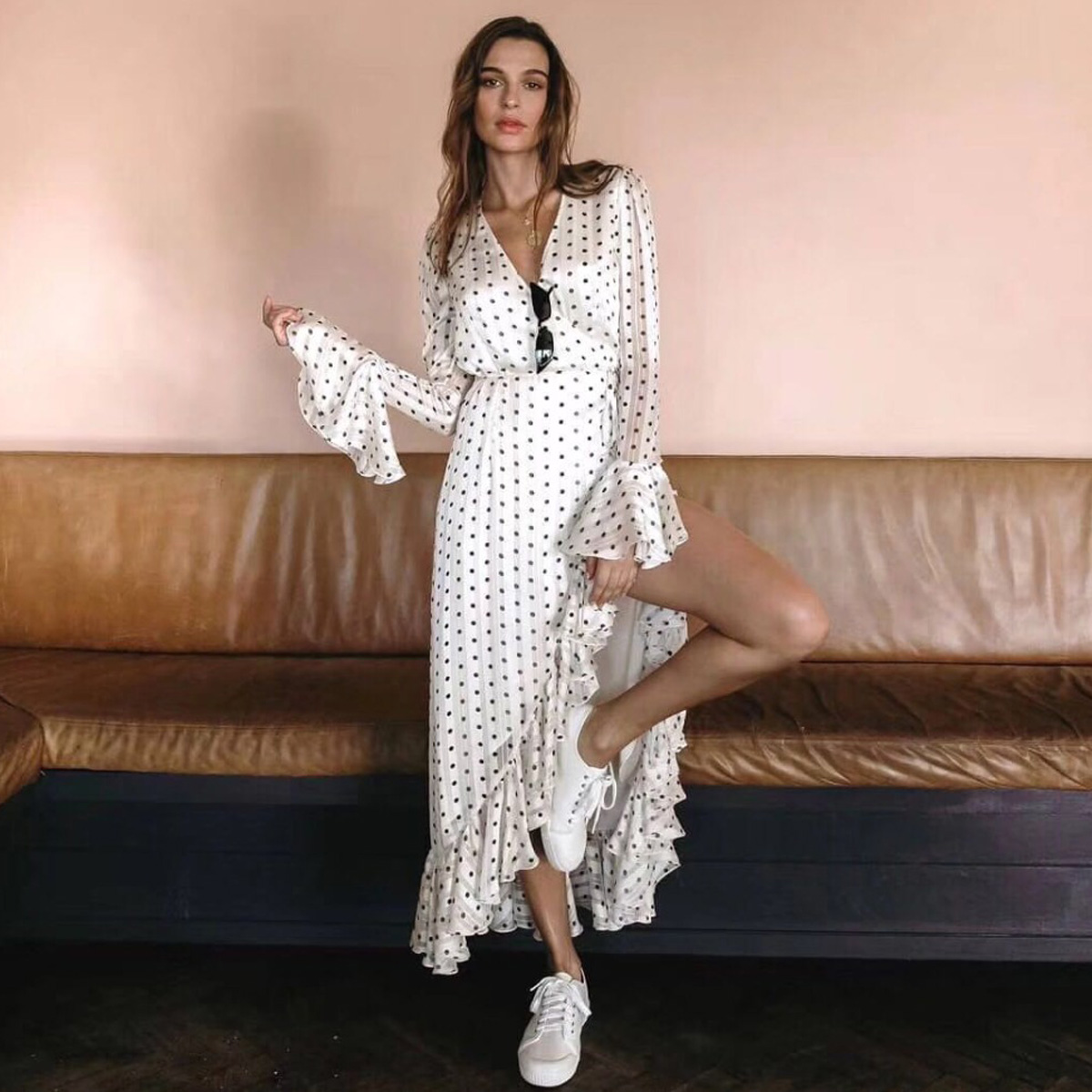 Jastie 2019 Women Long Sleeves Ruffle Hem Wrap Dress Polka Dot Print Dresses Boho Casual Beach