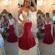 Elegante Rote Nixe-abend-kleider Perlen Durchsichtig Langes Abschlussball-kleid-formale Kleid Vestido de Festa