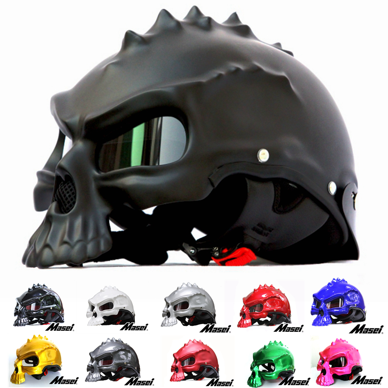 Masei 15 color 489 Dual Use Skull Motorcycle Helmet Capacete Casco Novelty Retro Casque Motorbike Half Face Helmet free shipping skull motorcycle helmet capacetes casco novelty retro casque motorbike half face helmet motorcycle helmet for harley dot approve