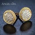Angel girl chapado en oro de joyería de moda de lujo ronda aaa + zirconia cúbico blanco doble aureola eg47-025 birthstone pendiente del perno prisionero