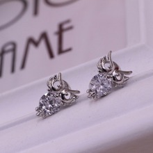 Free shipping jewelry earrings Contracted earrings owl zircon female model The owl silver earrings Women earrings