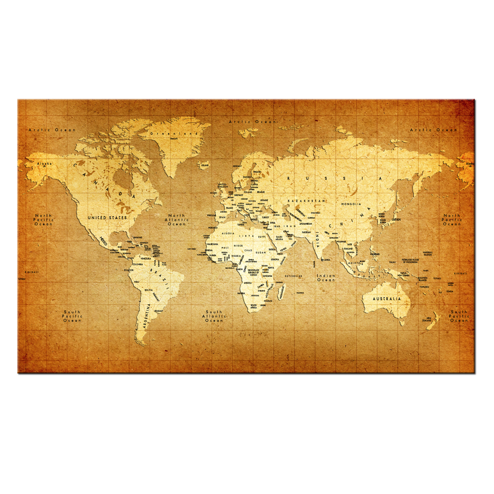 HD Printed A parchment World Map Poster Canvas Wall Art Mural Modern ...