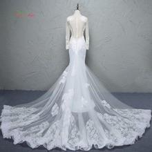 Loverxu Glamorous Detachable Train Mermaid Wedding Dress