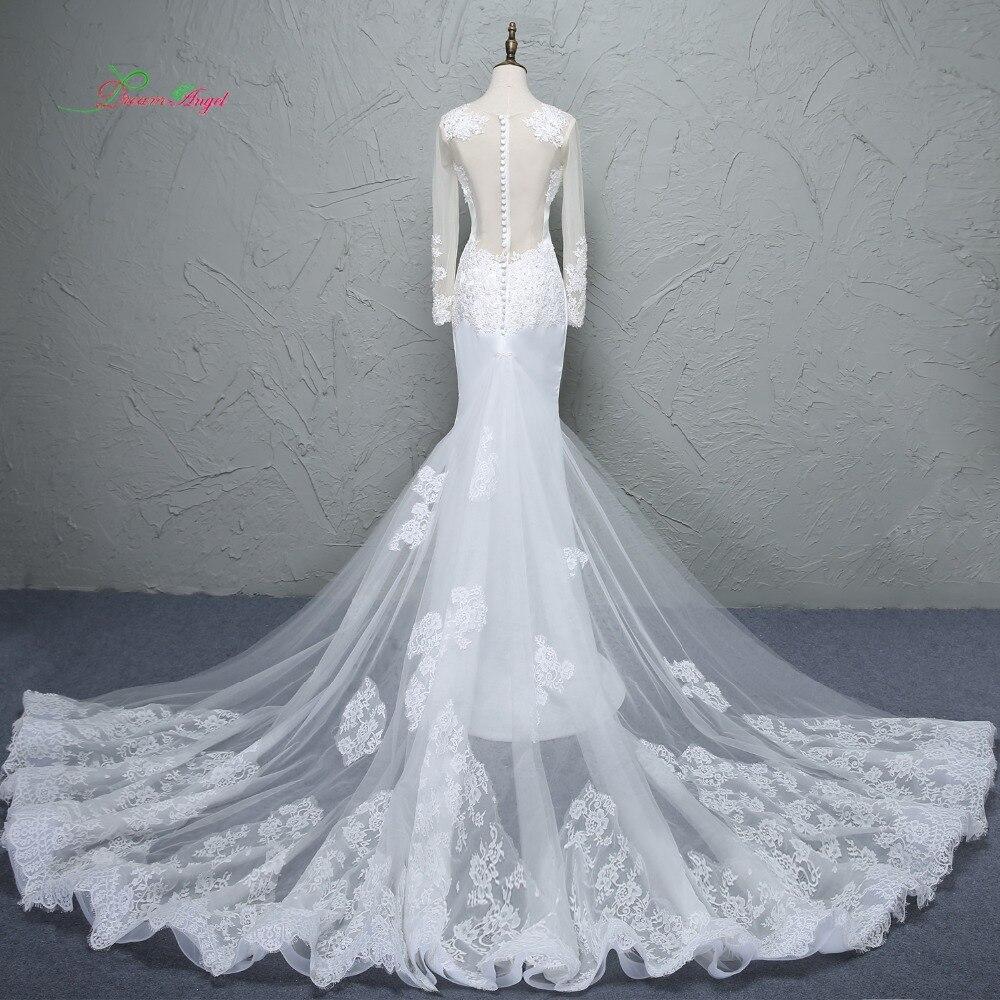 Loverxu Glamorous Appliques Detachable Train Mermaid Wedding Dress 2017 Appliques O-neck Bohemian Wedding Gown Vestido de Noiva