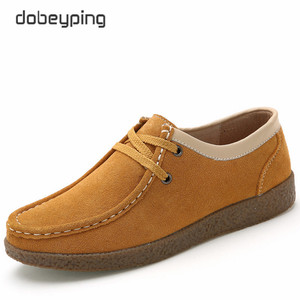 Image 5 - Dobeyping zapatos de primavera Otoño de piel de vaca para mujer, mocasines con cordones, zapatillas planas, 2018