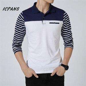 Image 1 - ICPANS الرجال قميص بولو مخطط طويل الأكمام قمصان بولو الرجال سليم صالح حجم كبير 5XL 2018 Hot البيع ربيع الخريف قمصان بولو للرجال