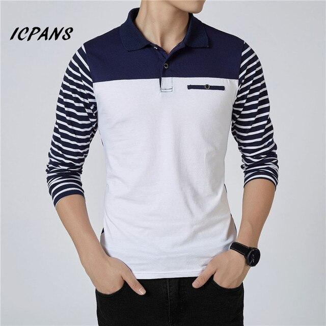 ICPANS الرجال قميص بولو مخطط طويل الأكمام قمصان بولو الرجال سليم صالح حجم كبير 5XL 2018 Hot البيع ربيع الخريف قمصان بولو للرجال