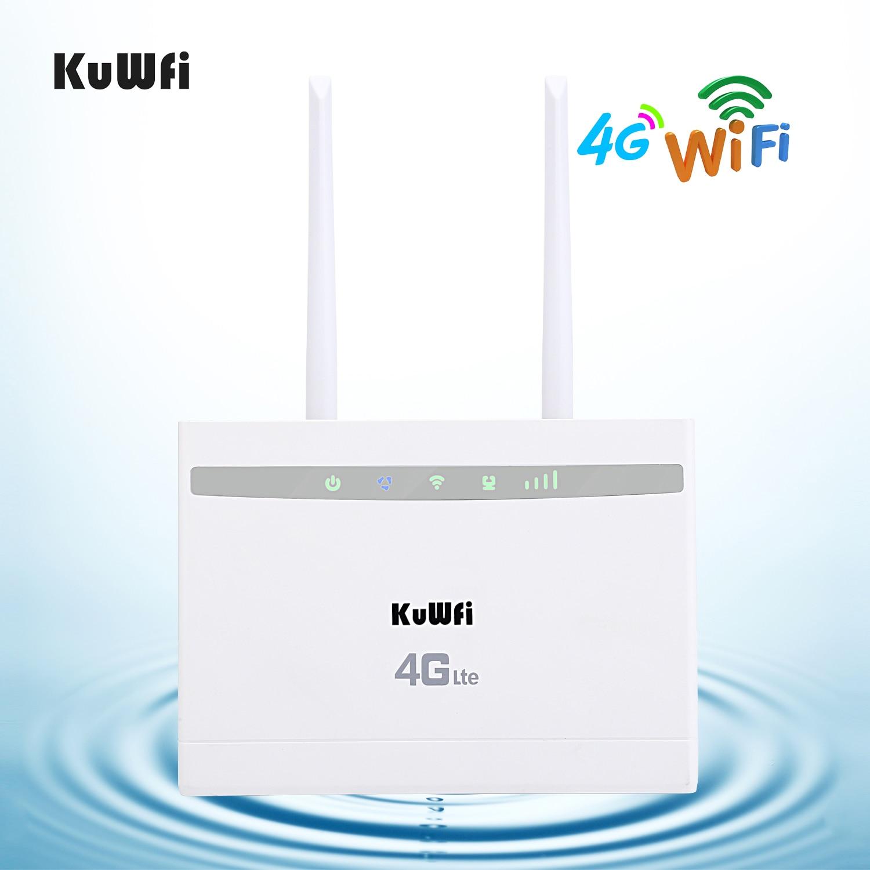 KuWfi 4G CPE Router Wi-fi 3G/4G LTE CPE Router 4G Modem até 32 cat4 usuários 150Mbps Wireless Router com RJ45Ports 2pcs Antenas