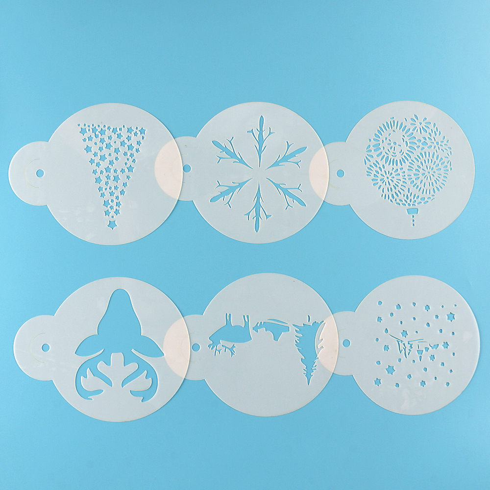 6PCS/set Merry Christmas Plastic Cafe Foam Spray Template Barista Stencils Cake Decoration Tool Garland Mold Fancy Coffee Moulds